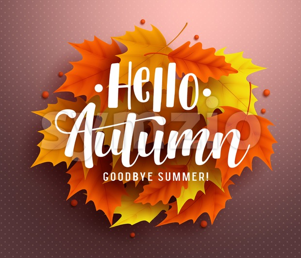 Hello autumn vector background design with autumn typography and maple leaves in textured background for fall season greetings design. Vector ...