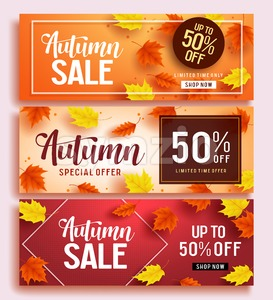 Autumn Sale Vector Banner Set Template Stock Vector