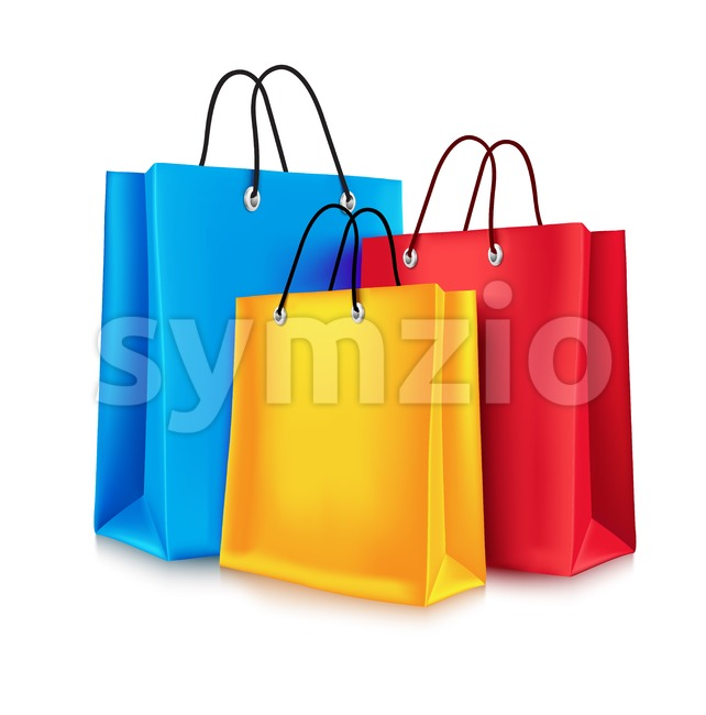 Set of Realistic Colorful Empty Shopping Bags Vector Illustration Isolated in White Background. This vector design was design with 3D realistic ...