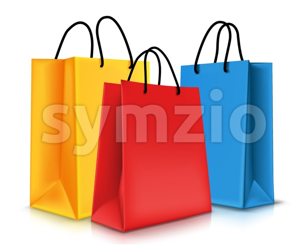 Set of Realistic Colorful Vector Empty Bags Stock Vector
