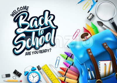 Back to School Banner In White Background Stock Vector