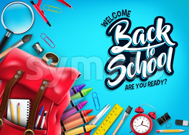 Back to School Banner in Blue Background with Red Backpack and School Supplies Like Notebook, Pencil, Colors, Ruler and Paint ...