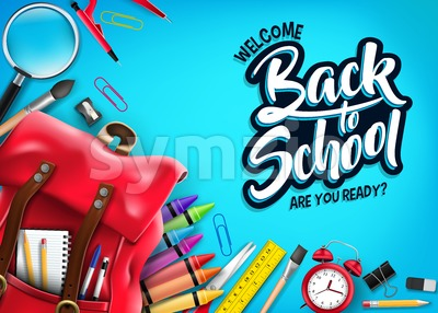Back to School Banner in Blue Background Stock Vector