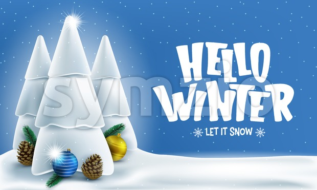 Winter Banner with Greeting Text Stock Vector
