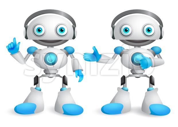 Robots vector character set. Friendly mascot robot design element for presentation with postures and hand gestures isolated in white. Vector ...