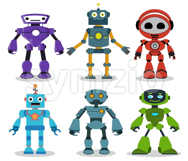 Robot toys vector cartoon characters set with modern and friendly looks for games and design elements isolated in white background. ...