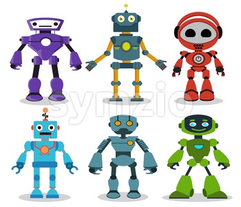 Robot Toys Vector Cartoon Characters Set Stock Vector