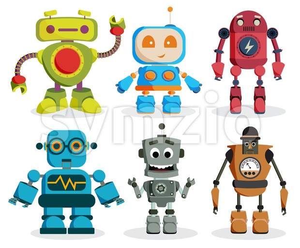 Robot toys vector characters set. Colorful kids robots elements with friendly faces isolated in white background. Vector illustration. This vector ...