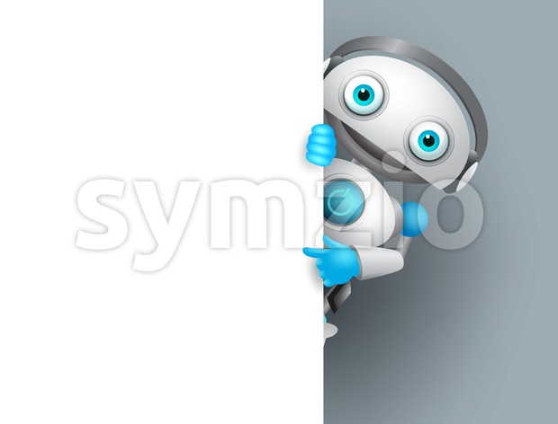 White Robot Vector Character Stock Vector