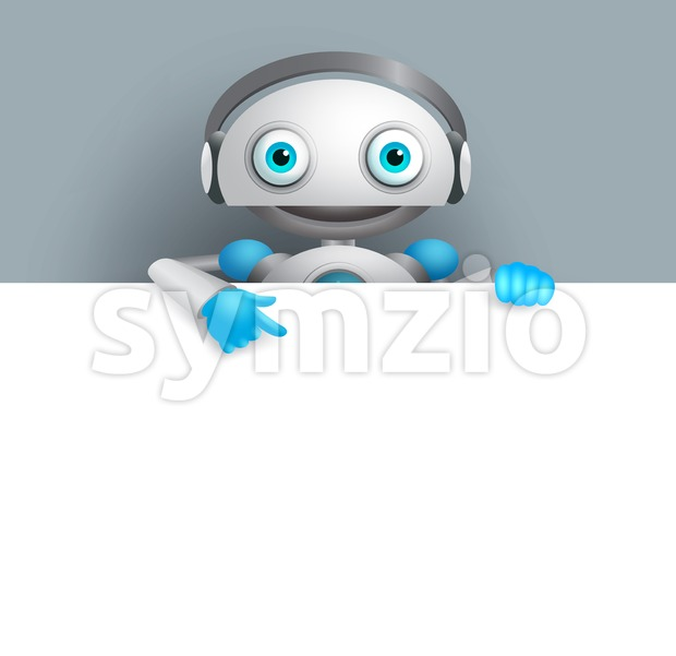White robot vector character with empty white board for text. Android mascot vector illustration pointing white space for design presentation. ...
