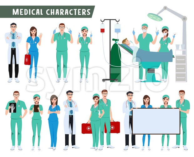 Surgeon Doctor and Nurse Characters Vector Set Stock Vector