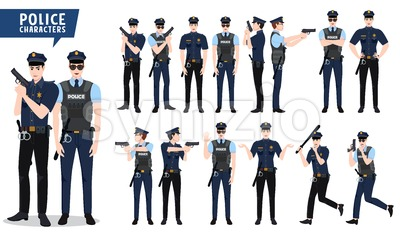 Policeman Vector Character Set Stock Vector