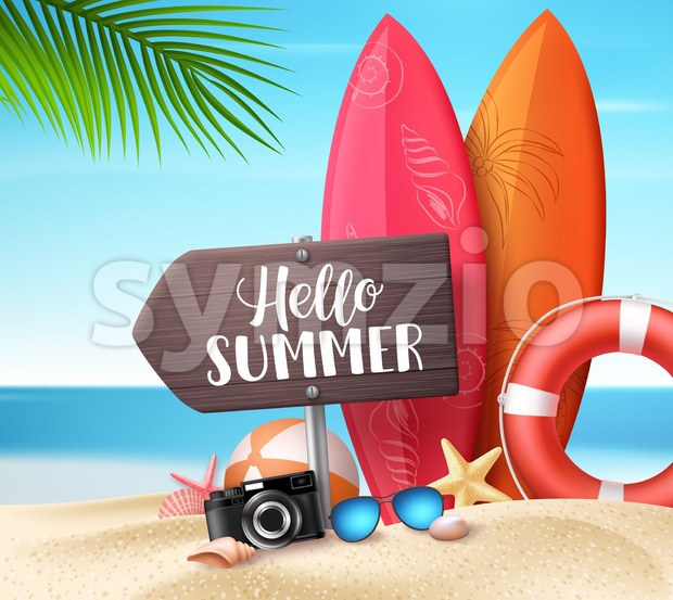 Hello Summer Vector Design Concept Stock Vector