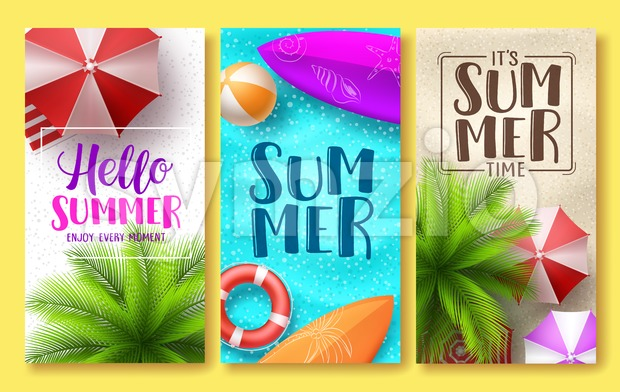 Summer Design Vector Poster Set Stock Vector