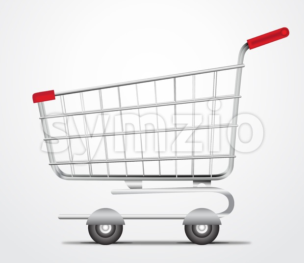 Realistic Vector Empty Shopping Cart Trolley Stock Vector