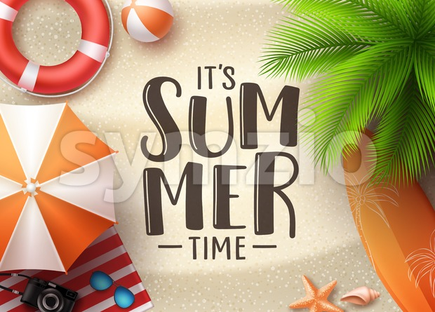 It's summer time seascape vector banner design. Summer seascape background with colorful beach elements like beach ball, umbrella and palm ...