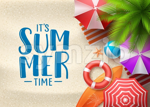 It's Summer Time Vector Seascape Background Stock Vector