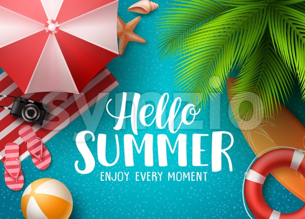 Hello Summer in Beach Vector Background Stock Vector