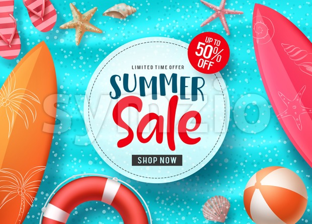 Summer Sale Vector Banner Design Stock Vector