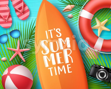 Its Summer Time Vector Design Concept Stock Vector