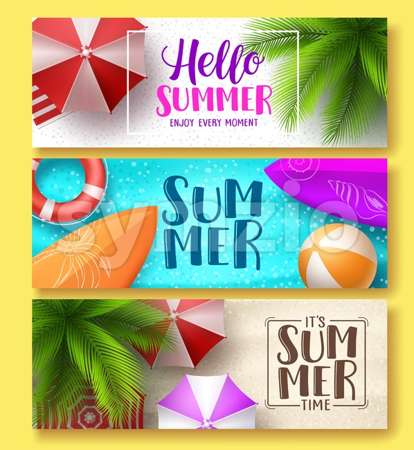 Summer design vector banner set. Hello summer greeting text in beach sand with colorful summer elements like, surfboard, balls and ...