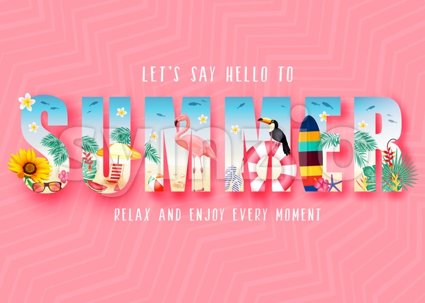 Summer 3D Realistic Stylish Modern Design Banner in Pink Patterned Background with Clipped Tropical Elements like Sunflower, Beach Ball, Flamingo ...