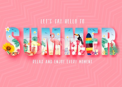Summer 3D Realistic Stylish Modern Design Banner Stock Vector
