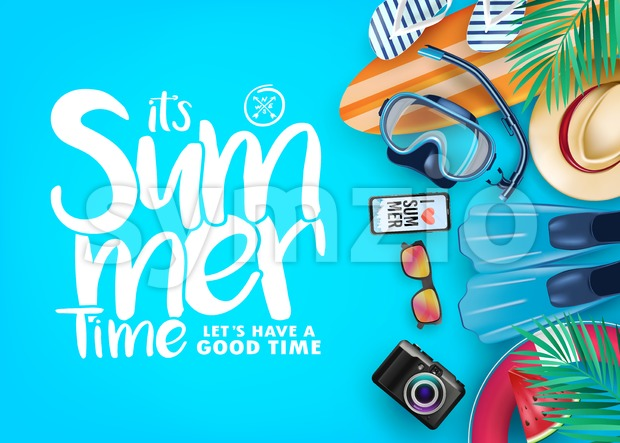 Top View Summer Time Realistic Vector Banner Stock Vector