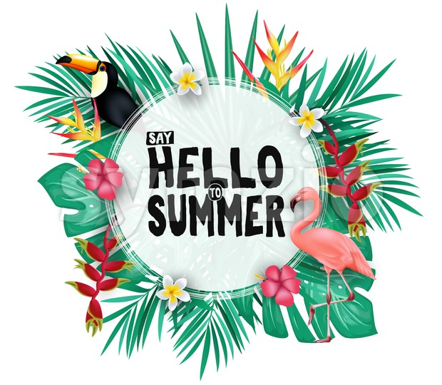 Tropical Hello Summer Poster Design with Space for Text in the Middle with 3D Realistic, Tropical Leaves, Flowers and Flamingo ...
