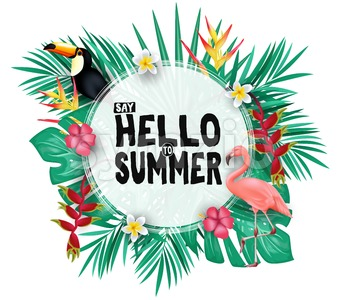 Tropical Hello Summer Poster Design Stock Vector