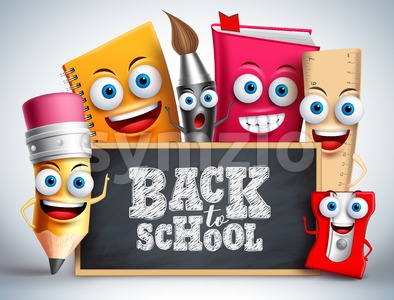 School Vector Characters Background Design Stock Vector