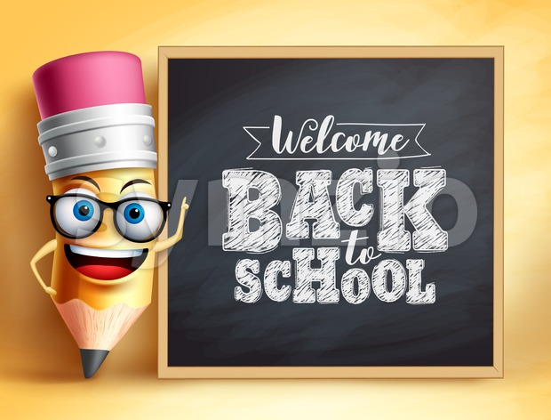 Back to School Text with Pencil Vector Character Stock Vector