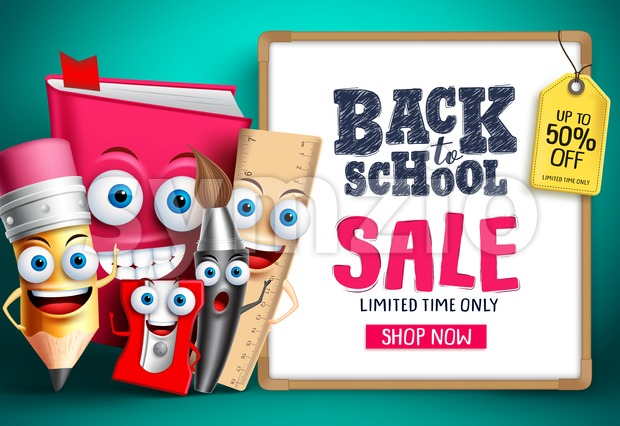 School Sale With Vector Characters Background Design. Education items mascots happy showing whiteboard with sale promotion text. Vector illustration. This ...