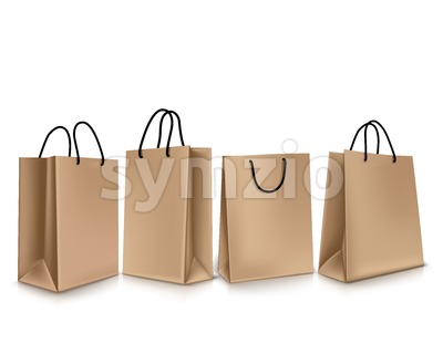 Set of Empty Paper Bags Vector Illustration Stock Vector