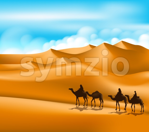 Arab People with Camels Caravan in Desert Stock Vector