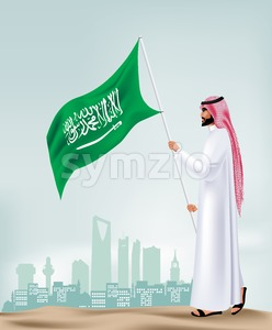 Arabia Man Holding Flag for Saudi National Day Stock Vector