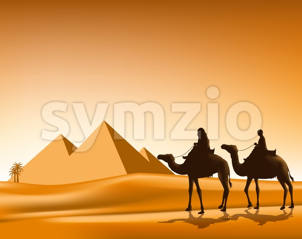 Group of Arab People with Camels Caravan Riding in Realistic Wide Desert Sands in Great Pyramid of Giza in Egypt ...