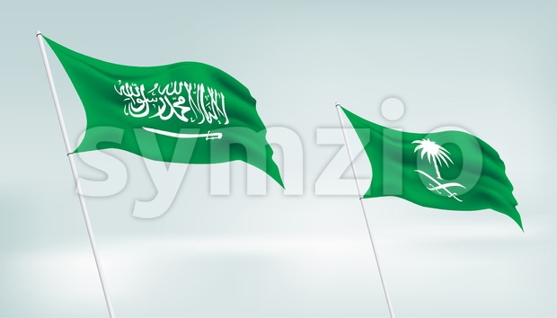 Two Saudi Arabia Flag Vector in the Horizon Stock Vector