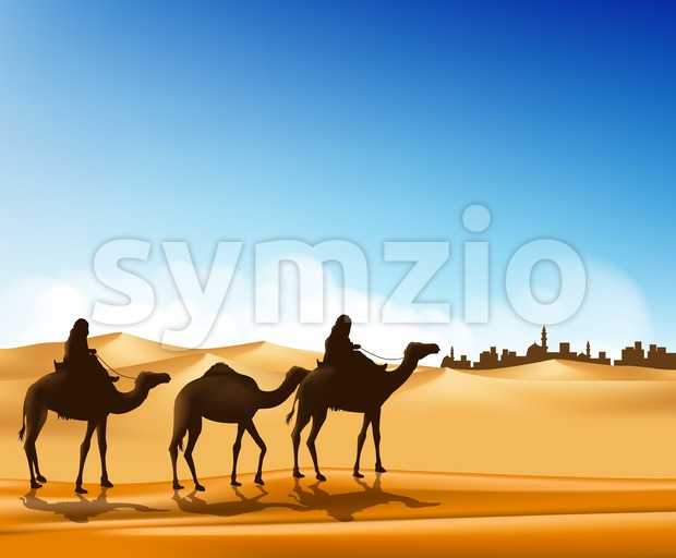Group of Arab People with Camels Caravan Riding in Realistic Wide Desert Sands in Middle East Going to a City ...