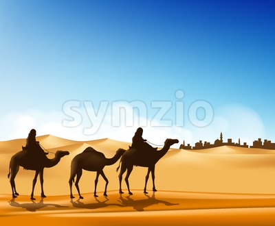 Arab People with Camels Caravan Vector Stock Vector