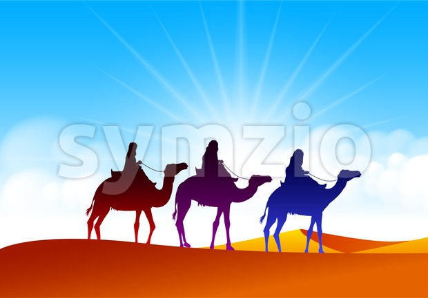 Colorful Group of Arab People with Camels Caravan Riding in Realistic Wide Desert Sands in Middle East Vector Illustration. This vector ...
