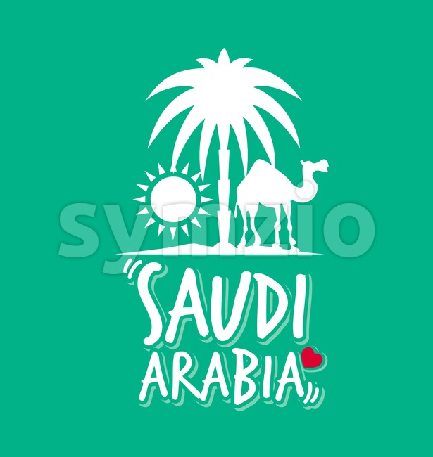 Saudi Arabia Design for Printing T-shirt or Mug Vector Illustration. This vector design was design with 3D realistic looks and rich ...