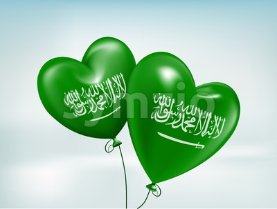 Vector Love Saudi Arabia Hearts Balloons Stock Vector