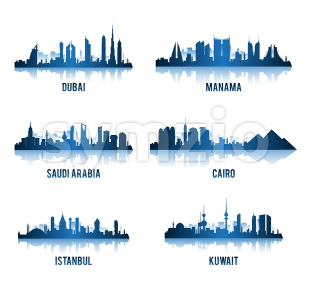 Set of Vector Middle East Cities Famous Buildings Vector Illustration. This vector design was design with 3D realistic looks and rich ...