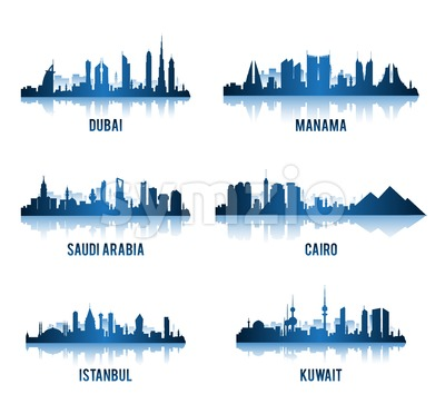 Set of Vector Middle East Cities Stock Vector