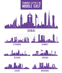 Vector Set of Middle East Famous Buildings Stock Vector