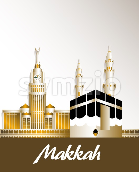 Vector Makkah Saudi Arabia Famous Buildings Stock Vector