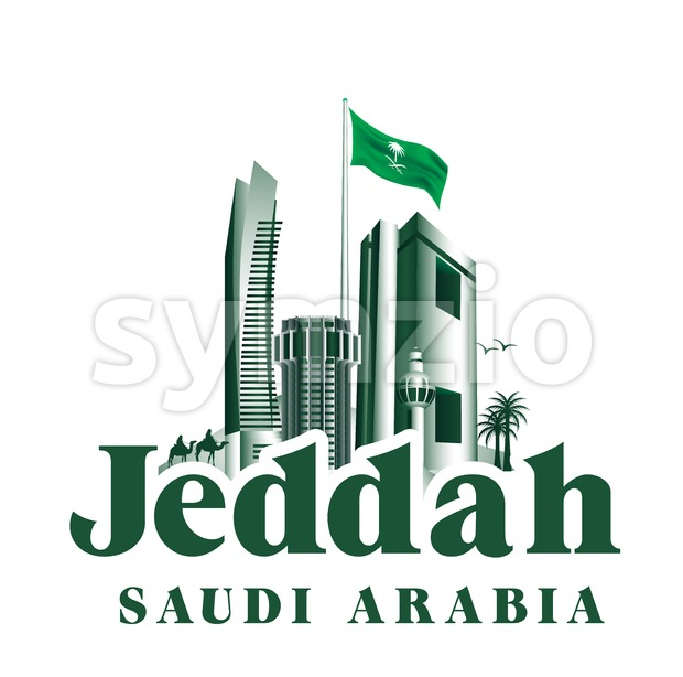City of Jeddah Saudi Arabia Famous Building Stock Vector