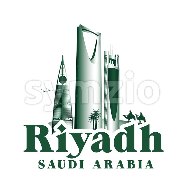 Vector Riyadh Saudi Arabia Famous Buildings Vector Illustration. This landmark vector was design with 3D realistic looks and rich in details which is well ...