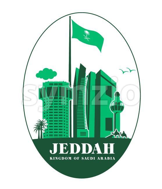 City of Jeddah Buildings Vector Illustration. This landmark vector was design with 3D realistic looks and rich in details which is well suited ...